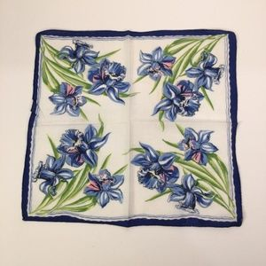 Vintage Floral Blue Handkerchief Cotton